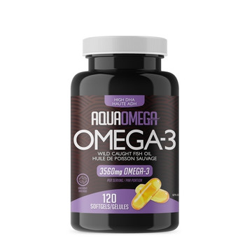 AquaOmega Omega-3 High DHA Wild Caught Fish Oil Softgels | 120 Soft Gels