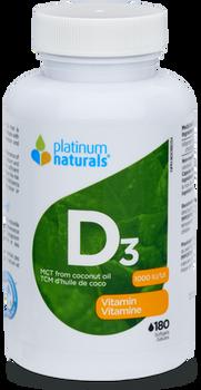 Platinum Naturals D3 1000 IU Vitamin | 90 Softgels