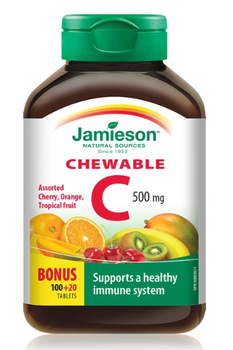 Jamieson Chewable Vitamin C 500 mg - Assorted Flavours | 120 Tablets