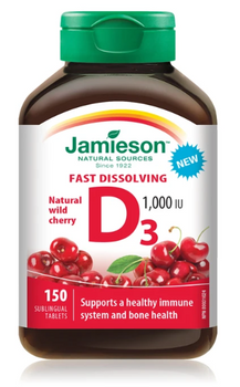 Jamieson Fast Dissolving Vitamin D3 1000 IU - Natural Wild Cherry | 150 Sublingual Tablets