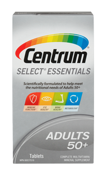 Centrum Select Essentials 50+ Complete Multivitamin & Mineral Supplement | 100 Tablets