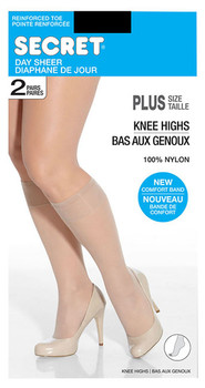 Secret Day Sheer Knee High Plus Size - Beige | 2 Pairs