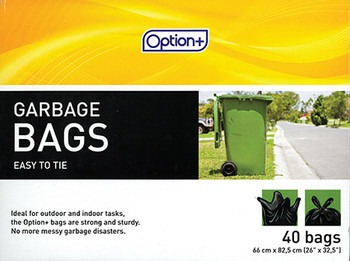 Option+ Easy to Tie Garbage Bags | 40 Bags