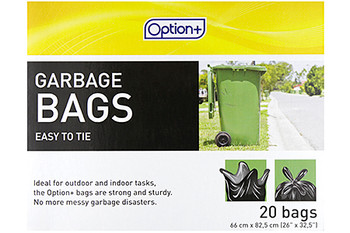 Option+ Easy to Tie Garbage Bags | 20 Bags