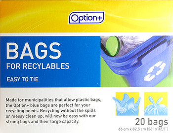 Option+ Easy to Tie Bags for Recyclables | 20 Bags