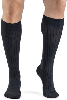 Business Casual 15-20mmHg Mens Business Casual Closed Toe Socks - Navy