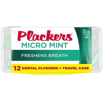 Plackers Micro Mint Dental Flossers + Travel Case | 12 Count
