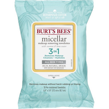 Burt's Bees Micellar Makeup Removing Towelettes with Coconut & Lotus Water for All Skin Types | 30 Towelettes