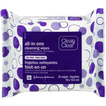 Clean & Clear Makeup Dissolving Facial Cleansing Wipes | 25 Wipes