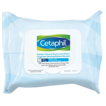 Cetaphil Gentle Face Makeup Removing Wipes for All Skin Types with Aloe Vera, Chamomile & Green Tea | 25 Wipes