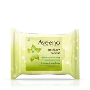 Aveeno Active Naturals Positively Radiant Make-Up Removing Wipes with Moisture Rich Natural Soy Extract | 25 Wipes