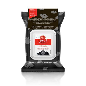 Yes To Tomatoes Clear Skin Detoxifying Charcoal Facial Wipes | 30 Deep Cleaning & Detoxifying Wipes