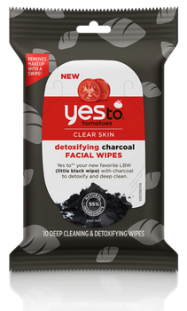 Yes To Tomatoes Clear Skin Detoxifying Charcoal Facial Wipes | 10 Deep Cleaning & Detoxifying Wipes