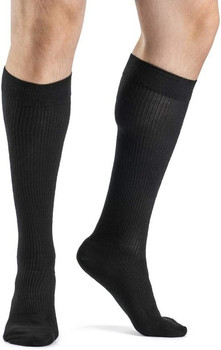 Sigvaris 186 Casual Cotton 15-20mmHg Closed Toe Men's Knee High Sock - Black | SIZE A