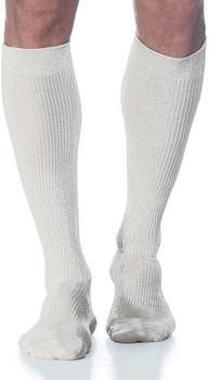 Sigvaris 186 Casual Cotton 15-20mmHg Closed Toe Men's Knee High Sock - White | SIZE A