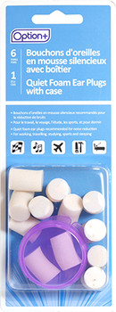 Option+ Quiet Foam Ear Plugs with Case | 6 Pairs + 1 Case