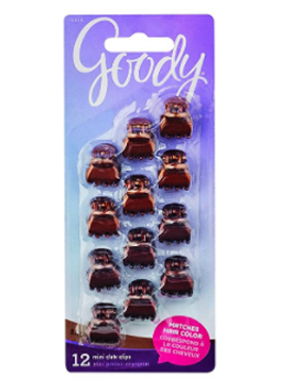Goody Mini Claw Clips - Matches Brunette Hair Colour | 12 pcs