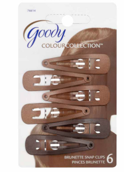 Goody Snap Clips - Matches Brunette Hair Colour | 6 pcs