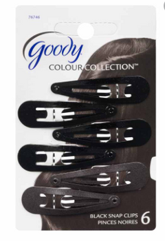 Goody Snap Clips - Matches Black Hair Colour | 6 pcs