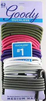 Goody Ouchless No-Metal Elastics - Black & Assorted Colours | 62 pcs
