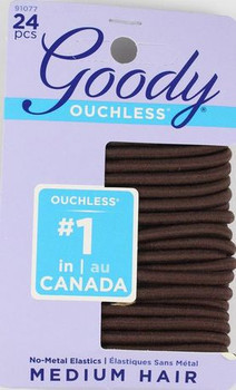 Goody Ouchless No-Metal Elastics - Brown | 24 pcs