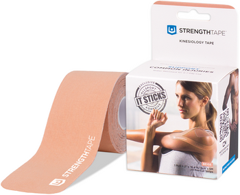 StrengthTape Kinesiology Tape for Common Injuries - Beige Pre Cut | 5m - 20 Strips