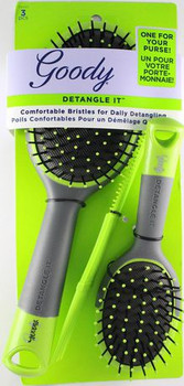 Goody Detangle It Oval Cushion Brushes & Comb Combo | 3 pcs