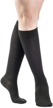 Sigvaris Women's 146 Casual Cotton 15-20mmHg Closed Toe Knee High Sock - Black | SIZE B