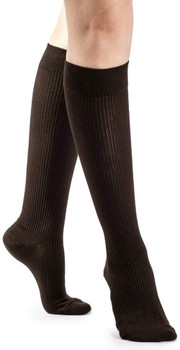Sigvaris Women's 146 Casual Cotton 15-20mmHg Closed Toe Knee High Sock - Brown | SIZE B