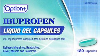 Option+ Ibuprofen Liquid Gel Capsules - 200 mg | 180 Capsules