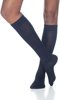 Sigvaris Women's 146 Casual Cotton 15-20mmHg Closed Toe Knee High Sock - Navy | SIZE A