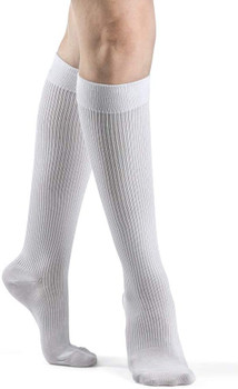 Sigvaris Women's 146 Casual Cotton 15-20mmHg Closed Toe Knee High Sock - White   SIZE A
