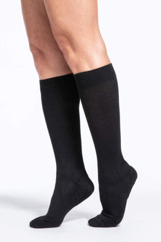 Sigvaris Women's 142 Cushioned Cotton 15-20mmHg Closed Toe Knee High Sock - Black | SIZE A