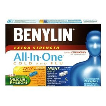 Benylin Extra Strength All-In-One Cold, Flu & Cough Relief | 12 Day + 12 Night Caplets