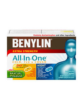 Benylin Extra Strength All-In-One Cold, Flu & Cough Relief | 20 Day + 20 Night Caplets