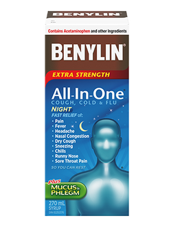 Benylin Extra Strength All-In-One Cough, Cold & Flu Night Syrup | 270 ml