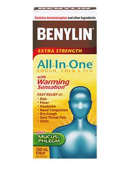 Benylin Extra Strength All-In-One Cough, Cold & Flu Syrup with Warming Sensation | 250 ml
