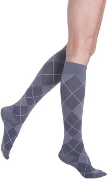 Sigvaris Well Being 143 Microfiber Shades Women's Closed toe Socks - 15-20 mmHg - Graphite Argyle | SIZE A