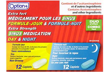 Option+ Extra Strength Sinus Medication Day & Night | 12 Daytime + 12 Nighttime Caplets