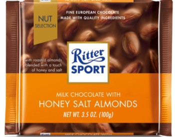 Ritter Sport Milk Chocolate Bar wit Honey Salted Almonds | 100 g
