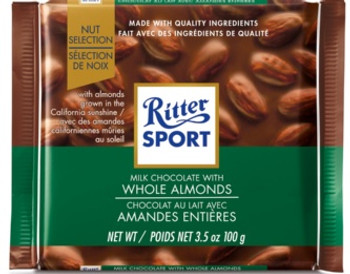 Ritter Sport Milk Chocolate Bar with Whole Almonds | 100 g
