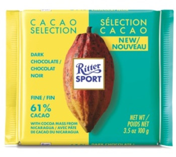 Ritter Sport Cacao Selection Dark Chocolate with Cocoa Mass from Nicaragua - 61% | 100 g