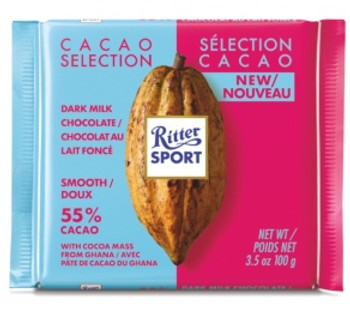 Ritter Sport Cacao Selection Dark Milk Chocolate with Cocoa Mass from Ghana - 55% | 100 g
