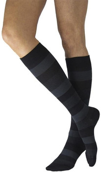 Well Being 143 Microfiber Shades Women's Closed toe Socks - 15-20 mmHg Onyx Stripe