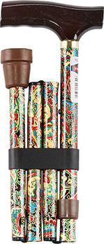 Option+ Folding Aluminium Cane with T-Handle | Bronze Paisley