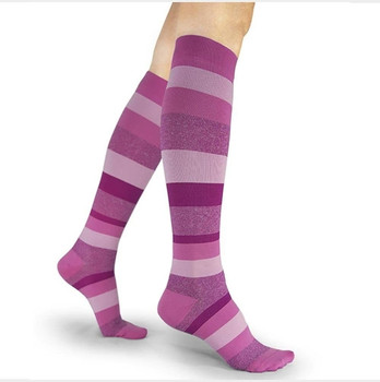 Well Being 143 Microfiber Shades Women's Closed toe Socks - 15-20 mmHg Pink Stripe
