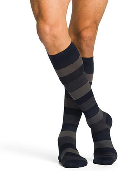 Well Being 143 Microfiber Shades Women's Closed toe Socks - 15-20 mmHg Dark Navy Stripe