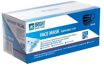 Disposable 3-ply Masks - Black | 50 Pack