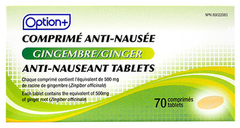 Option+ Ginger Anti-Nauseant Tablets | 70 Tablets