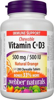 Webber Naturals Chewable Vitamin C + D3 - 500 mg / 500 UI - Natural Orange | 200 Tablets